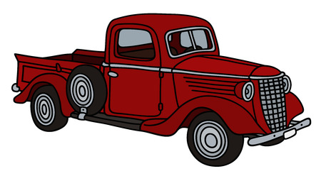 Classic red pick-up Illustration