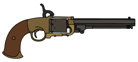 Vintage long revolver icon isolated on white background, vector illustration. Illustration