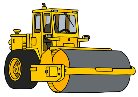 Yellow road roller icon isolated on white background, vector illustration.