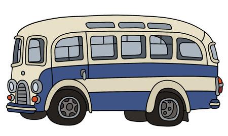 복고풍 파란색과 흰색 버스 일러스트