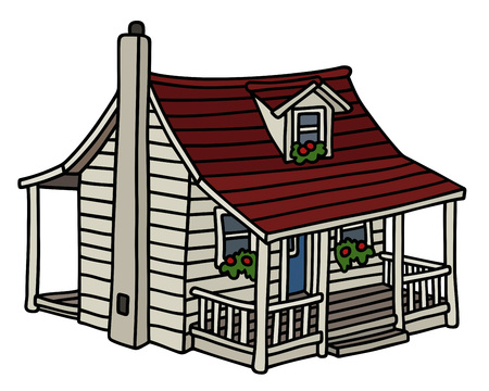 Classic white planked small house