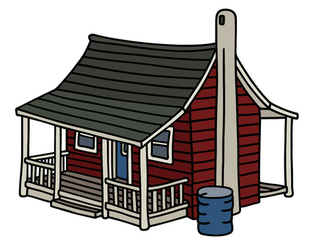 Red scandinavian planked house