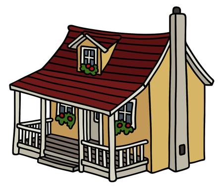 Simple yellow house. Иллюстрация