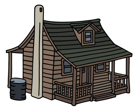 Old wooden planked small house