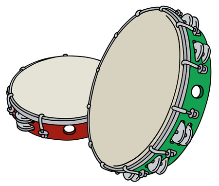 Red and green tambourines