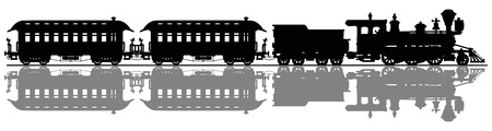 Black silhouette of a retro american steam train  イラスト・ベクター素材