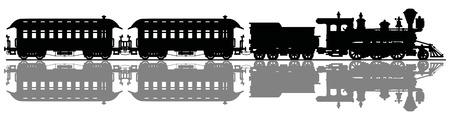 Black silhouette of a retro american steam train Stock Illustratie