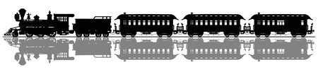 Black silhouette of a classic wild west steam train Illustration