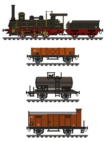 Vintage freight steam train Vector Illustration