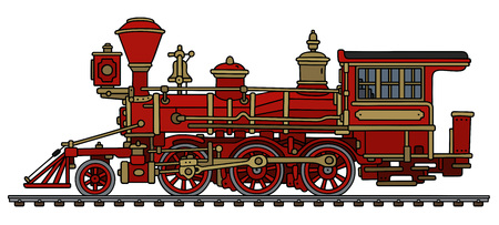 Stary czerwony dziki zachód parowa lokomotywa Ilustracje wektorowe