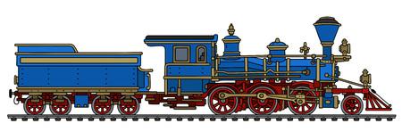 Vecchia locomotiva a vapore ad ovest selvaggia americana blu