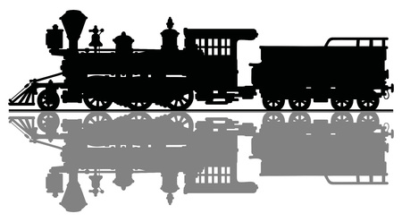 Black silhouette of a wild west steam locomotive