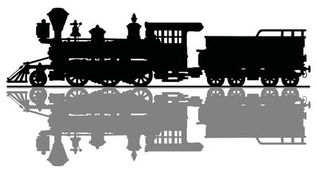 Zwart silhouet van een wild west stoom locomotief