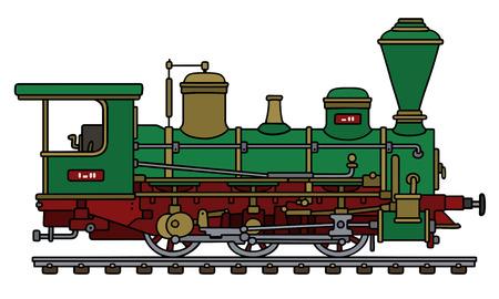 Retro groene stoomlocomotief Stock Illustratie