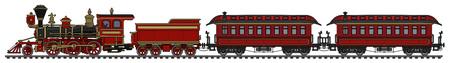Vintage red american wild west steam train