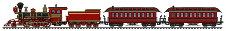 Vintage rote amerikanische Wild West Dampfzug Vektorgrafik