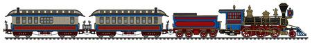 Tren de pasajeros americano del vapor de la vendimia