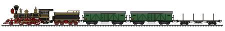 Old american wild west freight steam train