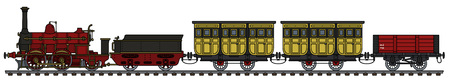 Historical steam train Vector illustration.