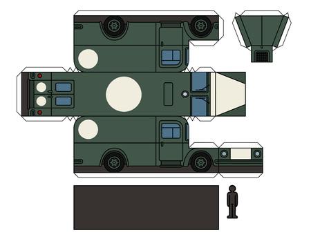 Paper model of a vintage military ambulance. Çizim