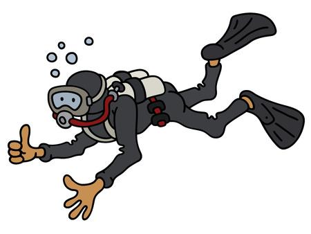 Funny diver in a black neoprene