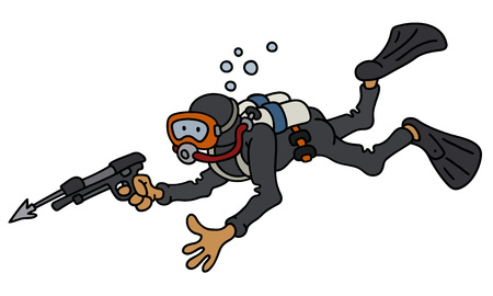 Funny diver with a harpoon gun