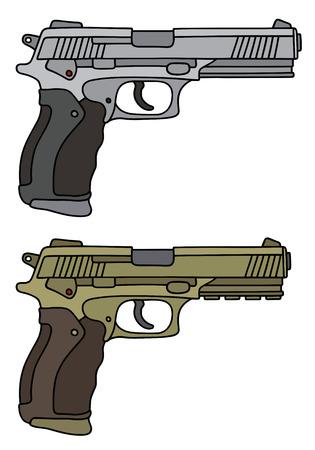 Silver and golden big handguns