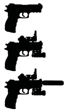 Black silhouettes of handguns Ilustrace