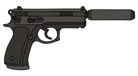 소음기가있는 권총