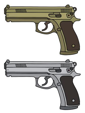 Golden and silver luxury handguns