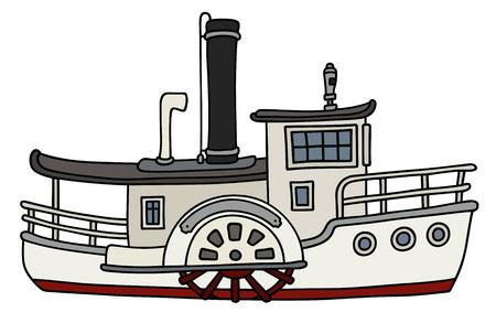 面白い古い外輪船  イラスト・ベクター素材