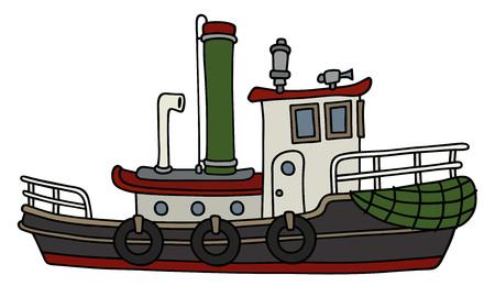 Grappige oude stoomsleepboot Stock Illustratie
