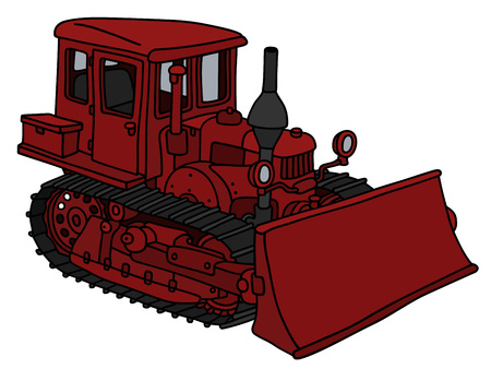 Classic dark red bulldozer