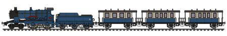 Vintage blue steam passenger train