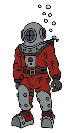 Hand drawing of a vintage diver in a red snuffer
