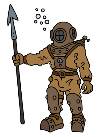Hand drawing of a vintage diver with a harpoon