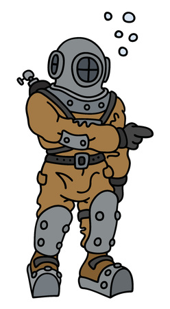 Hand drawing of a funny old diver