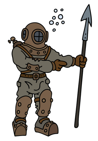Hand drawing of a classic diver with a harpoon