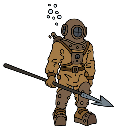 Hand drawing of a vintage deep diver with a harpoon Illustration
