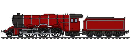 古典的な赤の蒸気機関車  イラスト・ベクター素材