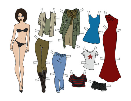 Brunette paper doll with cutout clothes, vector illustration.