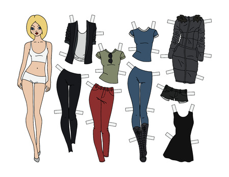 Blonde paper doll with cutout clothes, vector illustration.