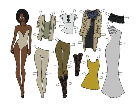 Afro-american paper doll with cutout clothes, vector illustration. Vettoriali