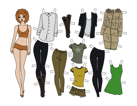 Redhead paper doll with cutout clothes, vector illustration. Vectores