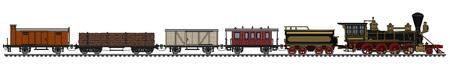Vintage american wild west steam train, vector illustration.