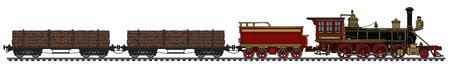 Vintage american steam wood train, vector illustration.
