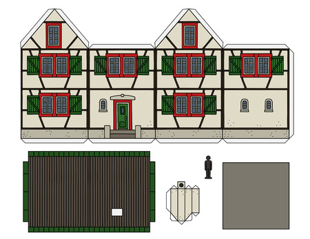 Paper model of an old half timbered house Stock Illustratie