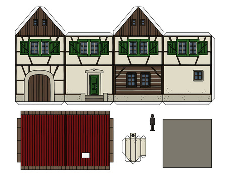 Paper model of an old half timbered house 일러스트