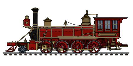 Vintage red american steam locomotive Vector illustration.