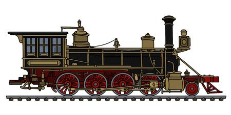 Vintage black american wild west steam locomotive Vector illustration. Illustration